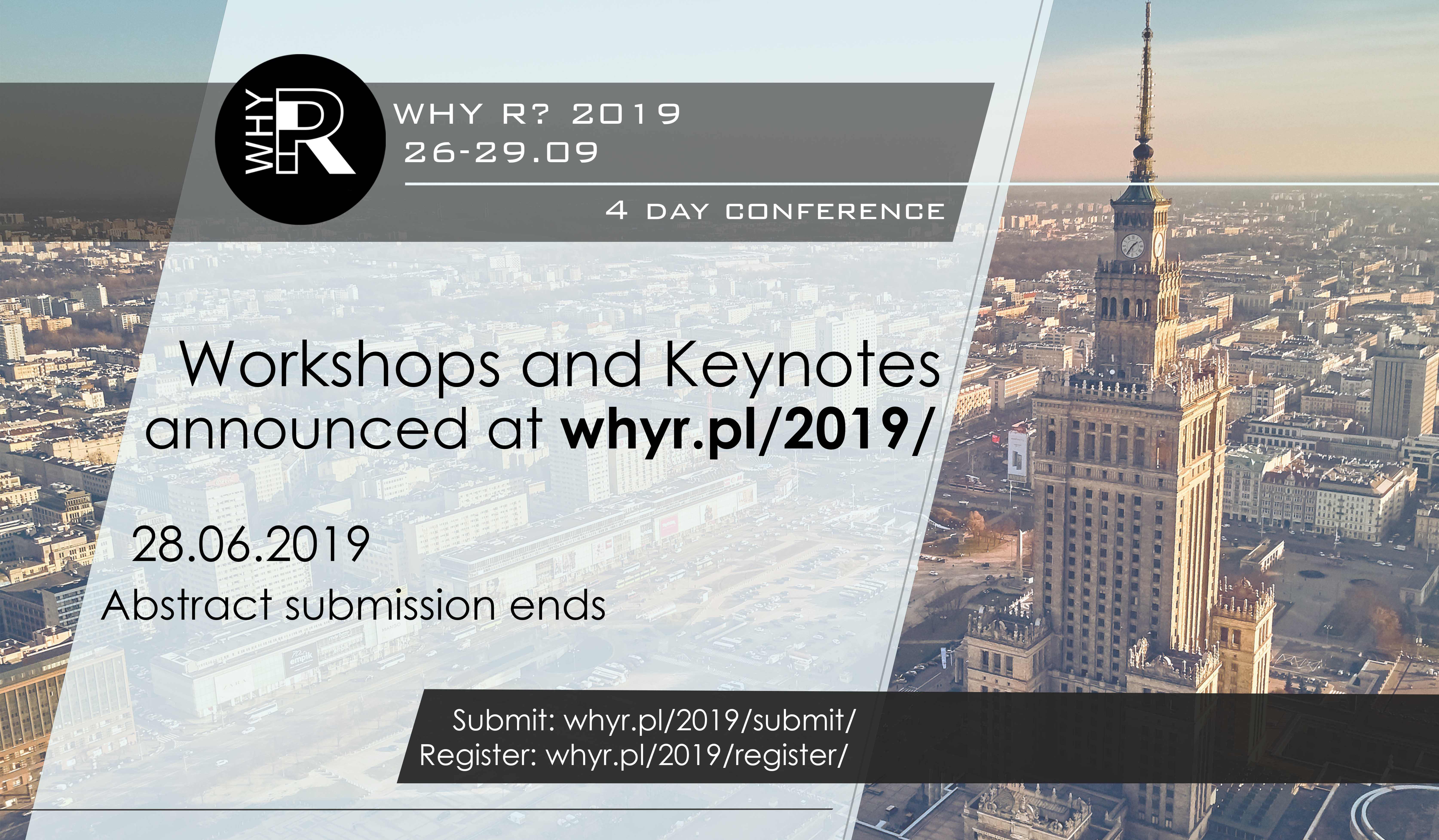 Why R? 2019 Conference - Keynotes and Workshops announced